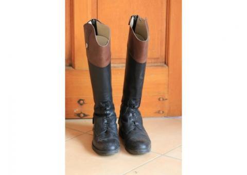 Bottes d'équitation cuir noir/marron Busato