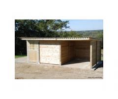 Combiné abri 3x3m + boxe 3x3m pour chevaux